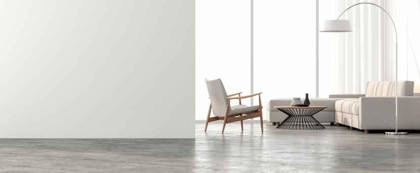 Home With Trendy Concrete Floor